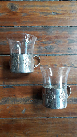 Pair of Vintage French Glass Cups & Silver-plated Holders