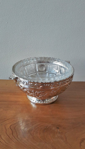 Vintage Silver Plated & Crystal Bowl