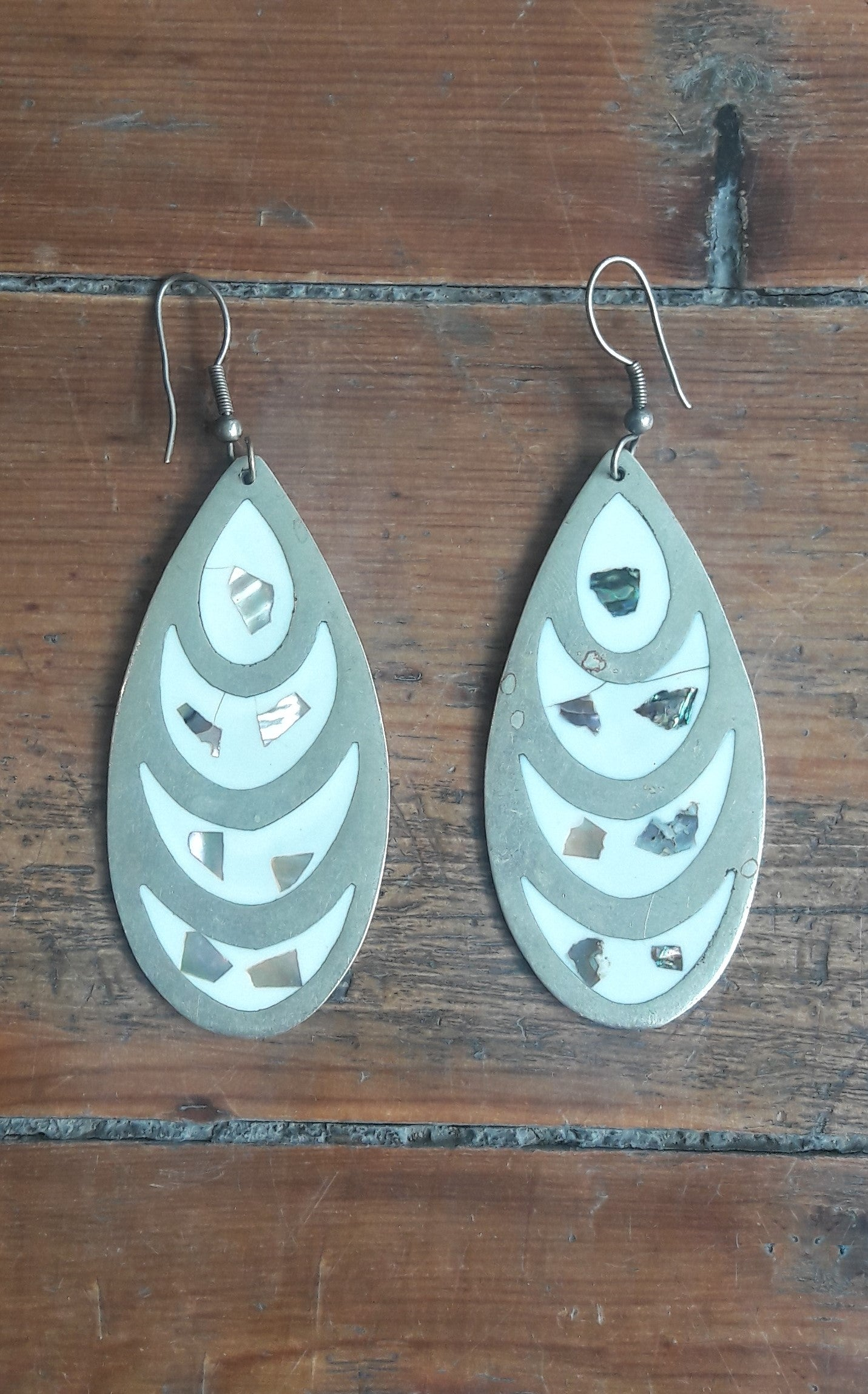 Mexican Mother of Pearl Pendant Earrings