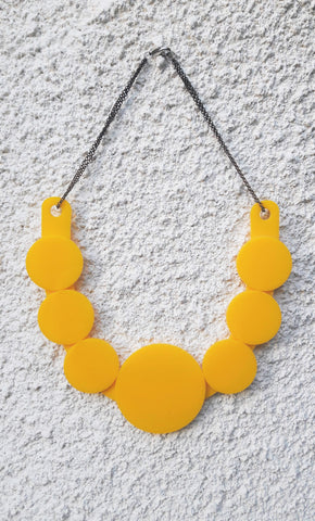 Bright Yellow Circle Art Necklace Reversible