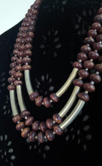 Wooden Gold Bead Multi Strand Necklace