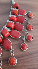 Ethnic Red Stone Chandelier Necklace