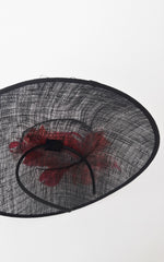 Large Round Black Feather Hat Hairpiece