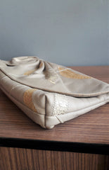 Vintage Beige Patchwork Leather Clutch