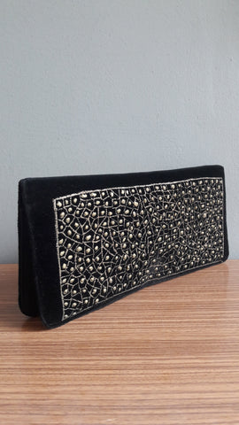 Vintage Black Velvet Gold Speckle Clutch