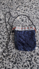 Vintage Velvet Burnout Dark Blue Cross Bag