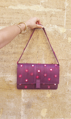 Vintage Alain Manoukian Purple Mirror Bag