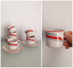 Set of 5 Espresso Coffee Cups & Saucers