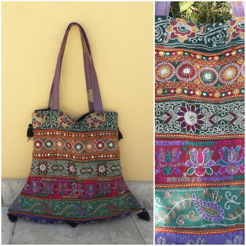 Boho Embroidered Mirror Tote Bag