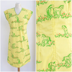 Vintage The Vested Gentress Horse Print Dress