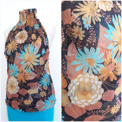Silk Floral Halterneck Backless Top
