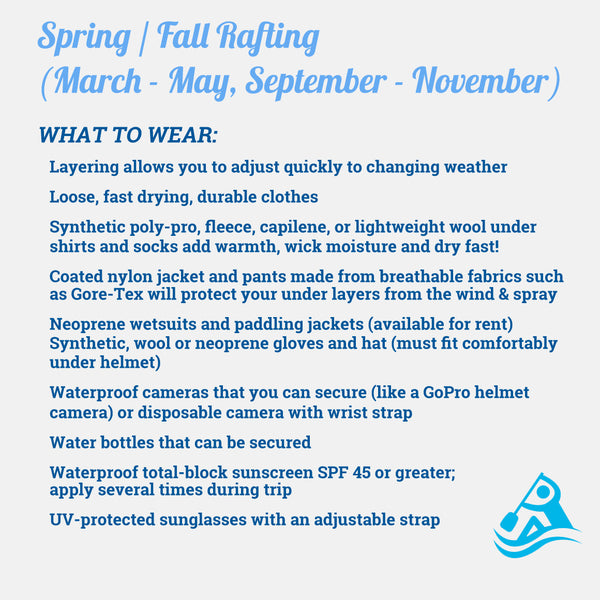 What to Wear Spring/Fall Rafting