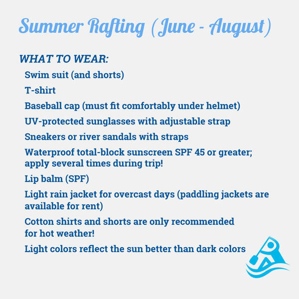 What to Wear Summer Rafting