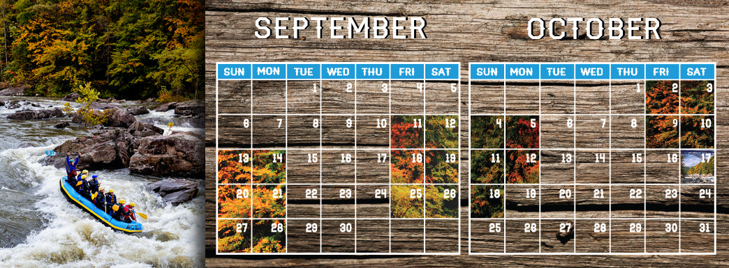 Fall Gauley River Rafting Calendar