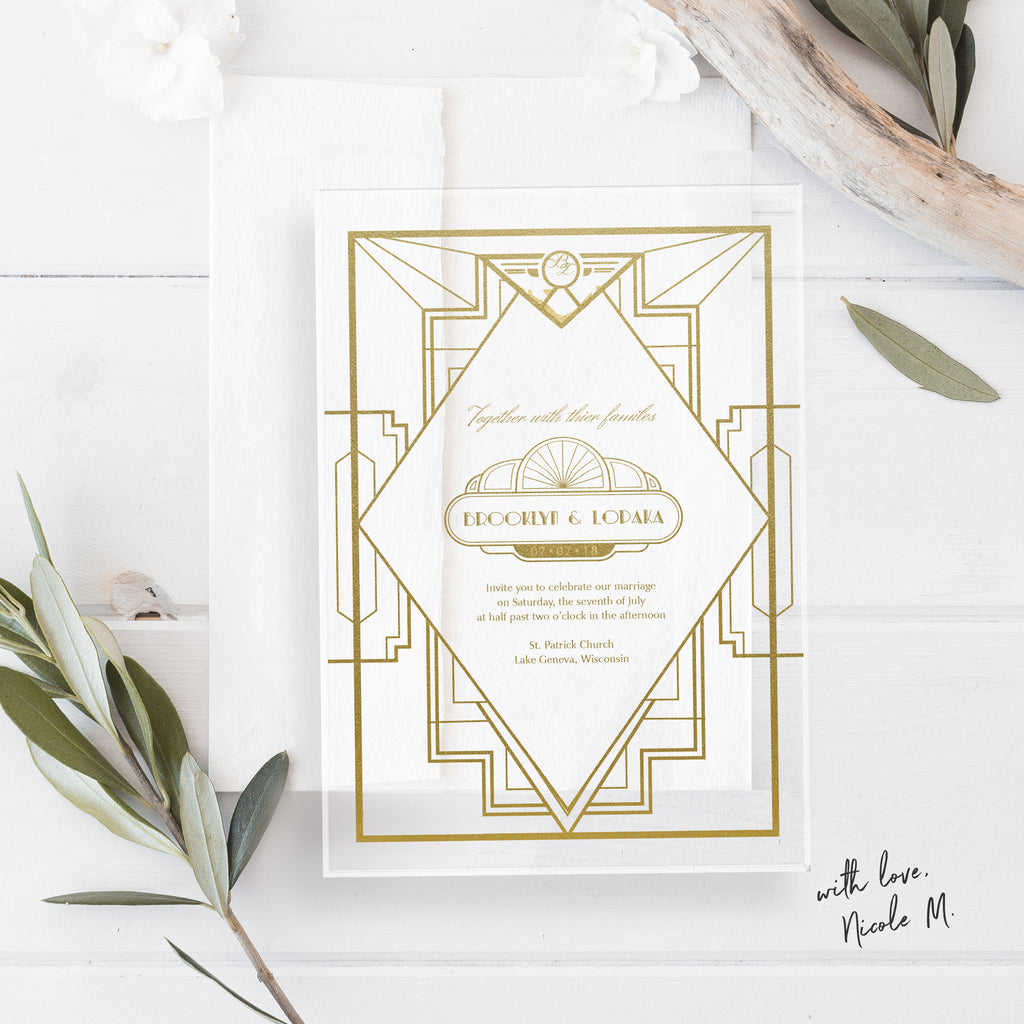 Art Deco Great Gatsby Theme Acrylic Wedding Invitation