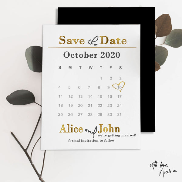 Gold Calendar Save the Date Magnet