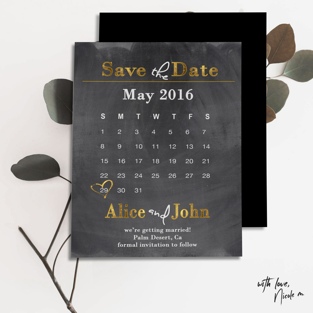 Chalk Calendar Save the Date Magnet
