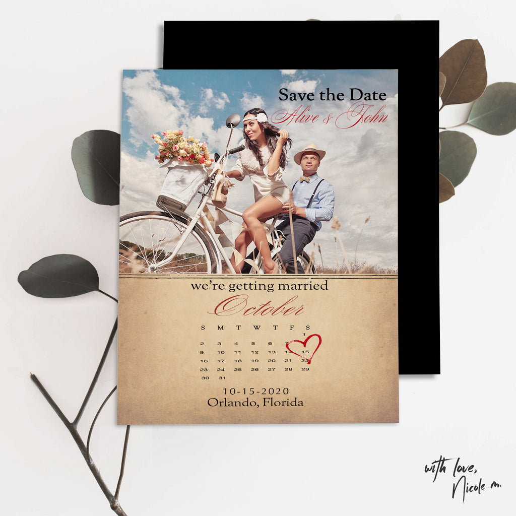 Photo Calendar Save the Date Magnet