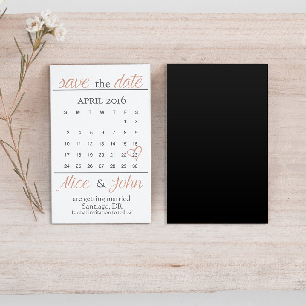 Mini Rose Gold Save the Date Magnet