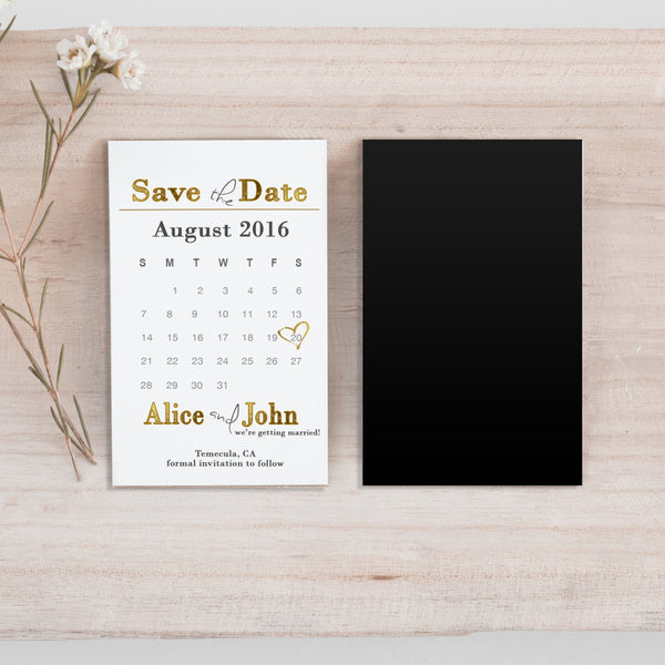 Mini Gold Save the Date Magnet