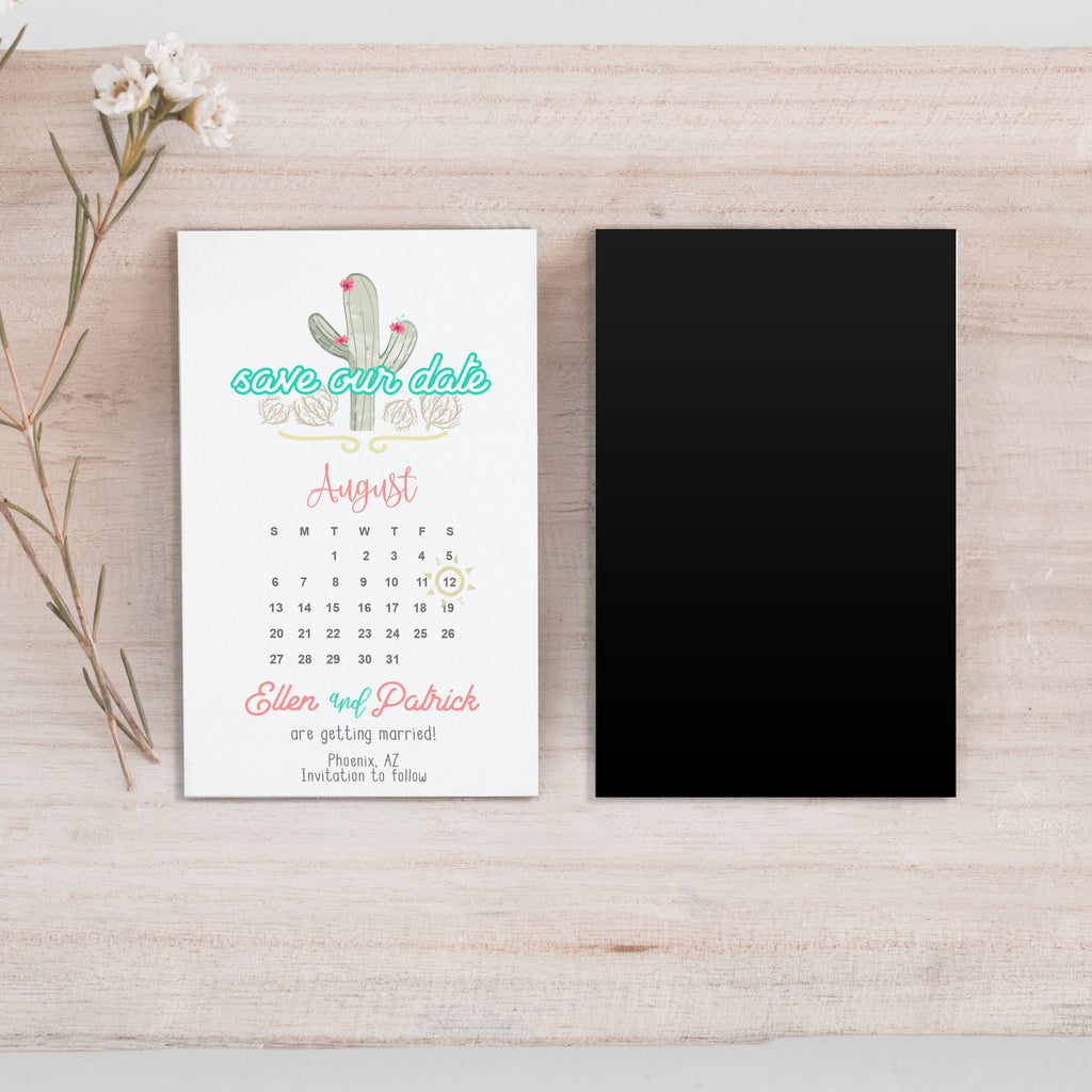 Mini Cactus Save the Date Magnet