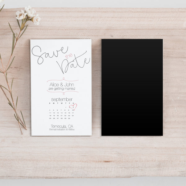 Mini Curly Font Save the Date Magnet