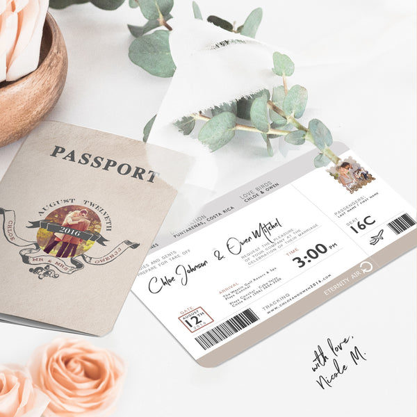 Destination Wedding Invitation With Passport