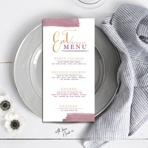 Skinny Watercolor Wedding Menu