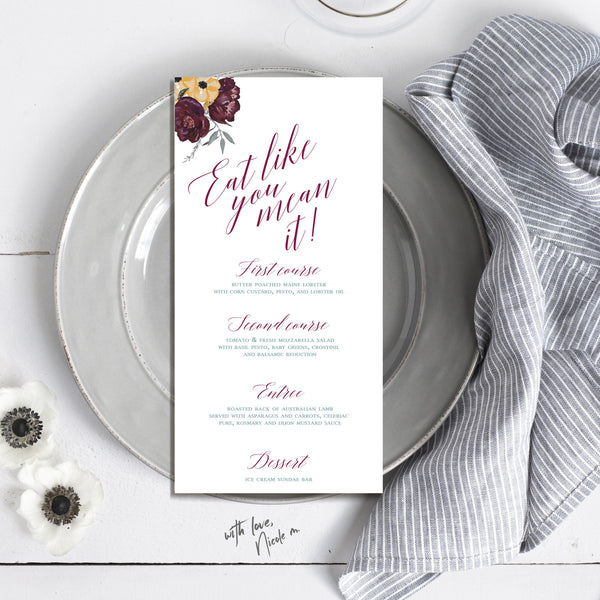 Skinny Floral Wedding Menu