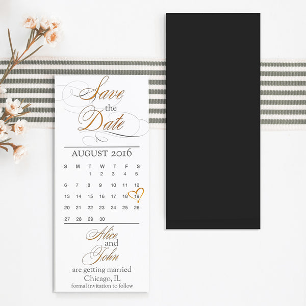 Gold Style Save the Date Magnet