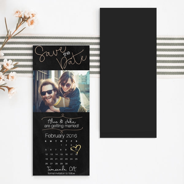 Black Save the Date Magnet