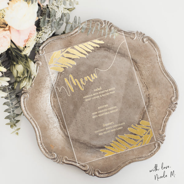 Gold Tropical Theme Acrylic Menu