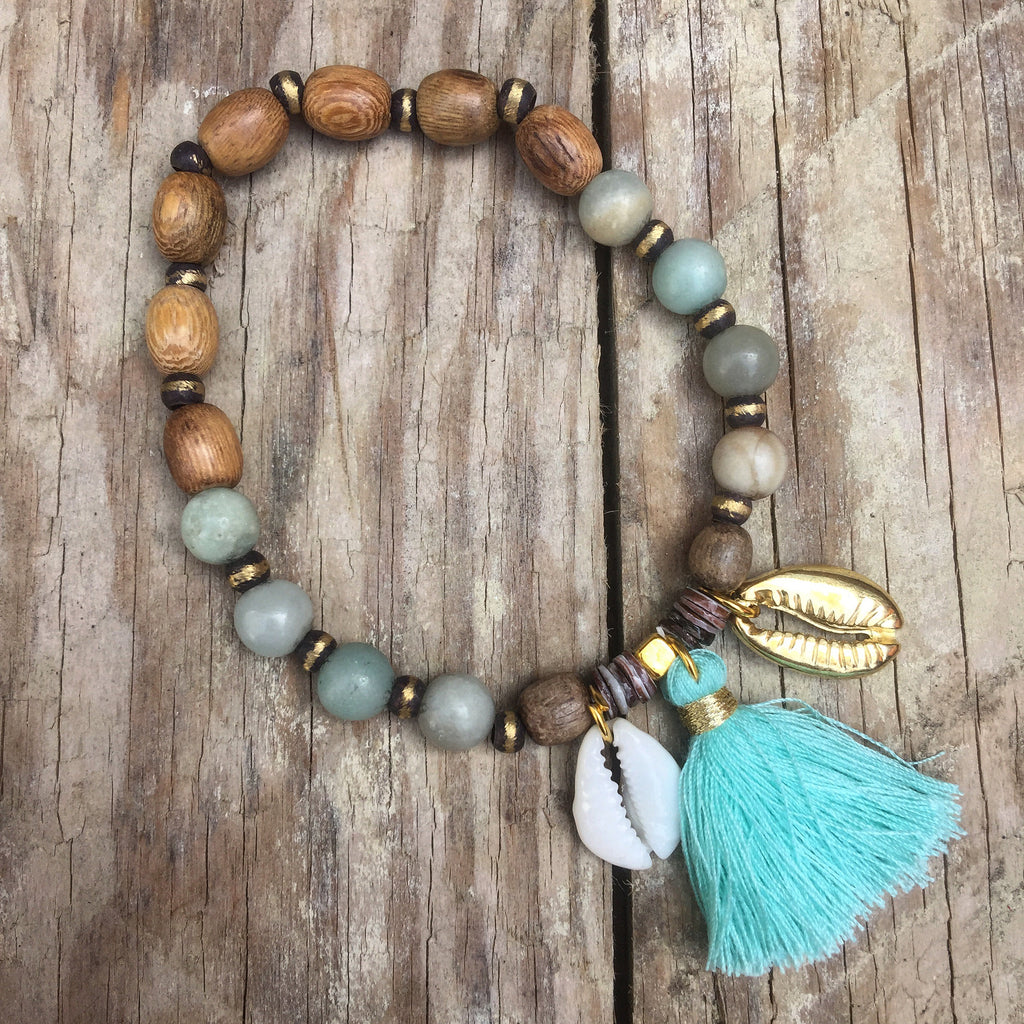 Princesa Handmade Cowrie Shell Tassel, Wood and Stone Bracelet