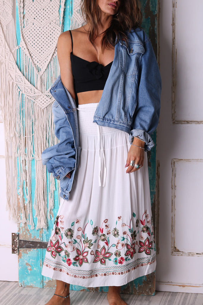 Walk With Me Flowers Maxi Skirt
