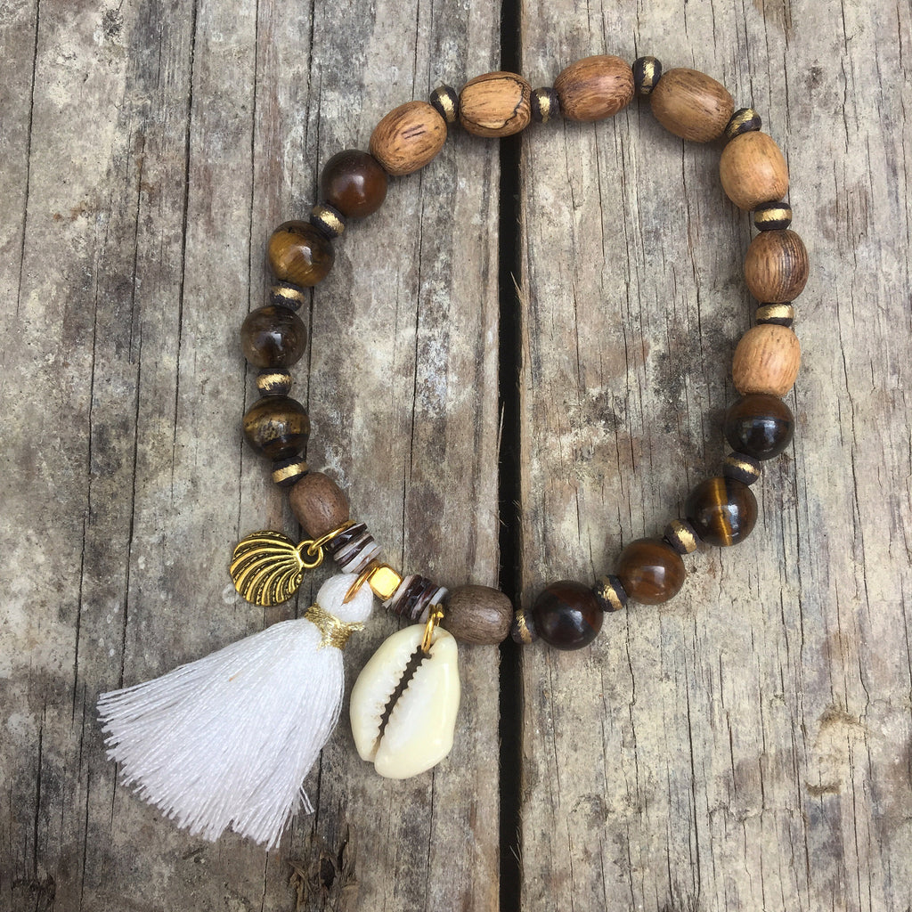 Palawan Handmade Cowrie Shell Tassel, Wood and Stone Bracelet
