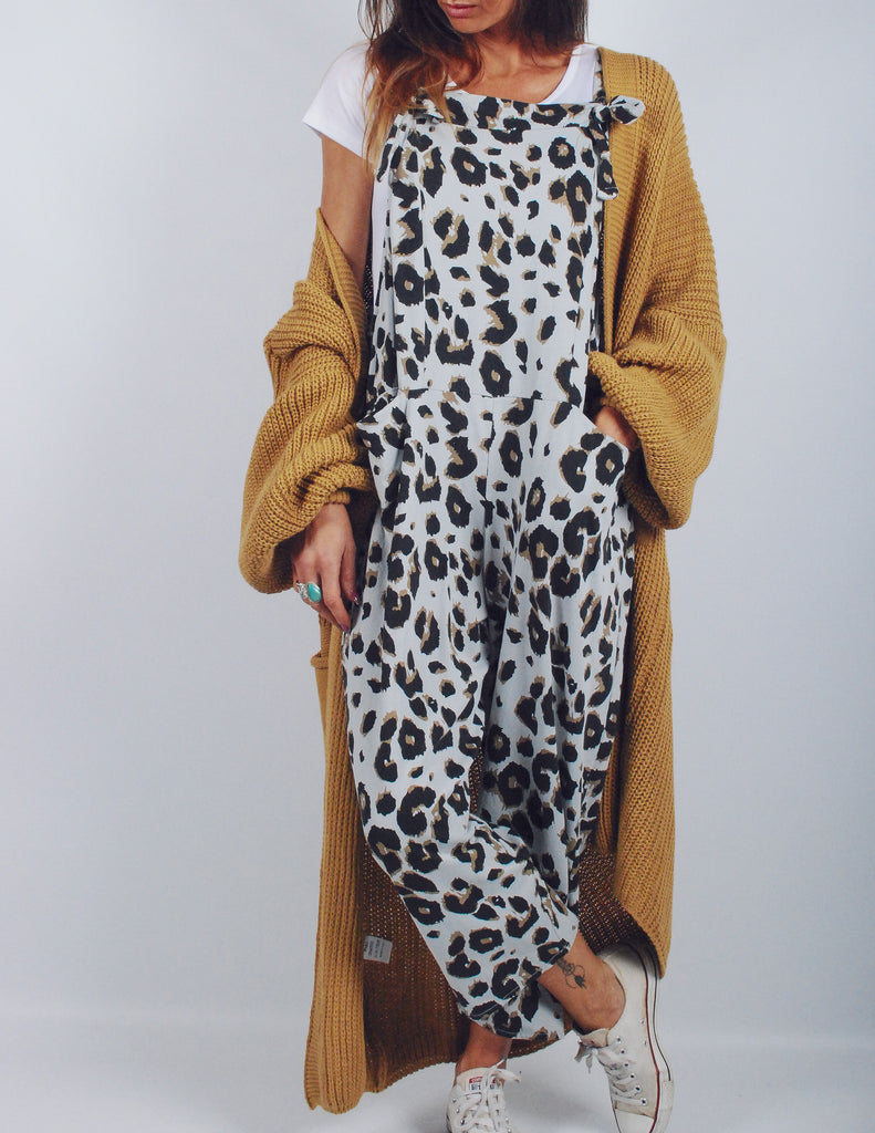 Spacedye Leopard Jersey Cotton Dungarees
