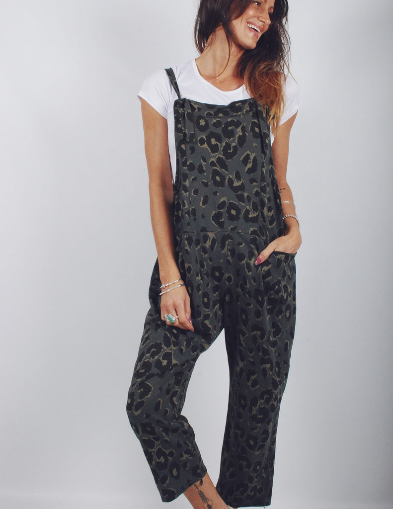 Retrograde Leopard Jersey Cotton Dungarees