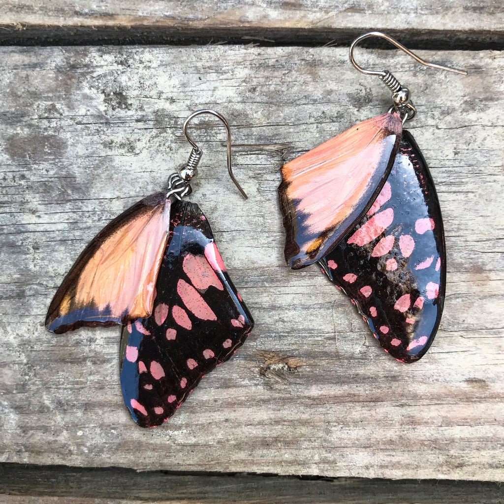 Lovers Kiss Hand Painted Butterfly Wing Earrings