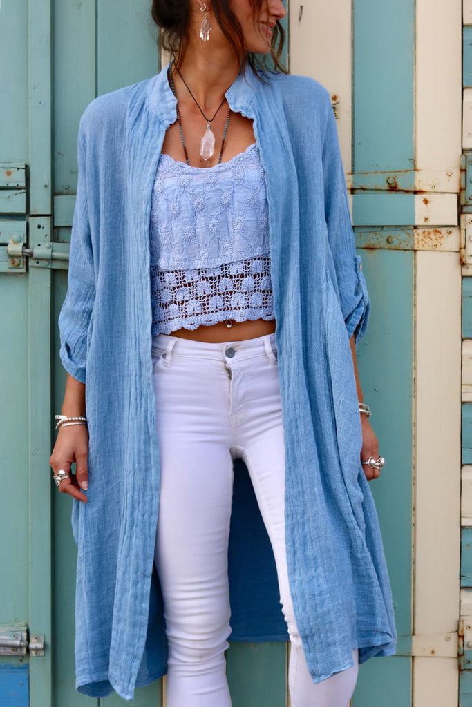 Summer Skies Long Linen Jacket