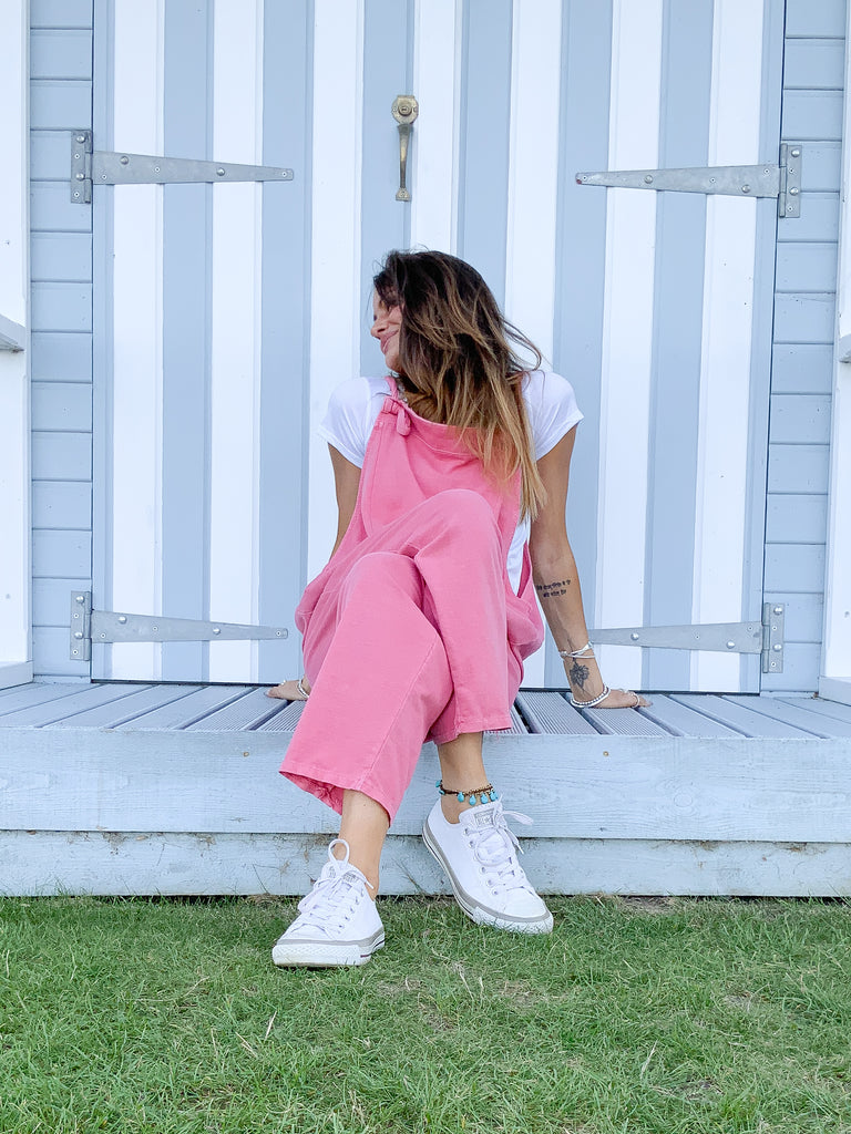 Love Me Do Sloppy Jersey Cotton Dungarees