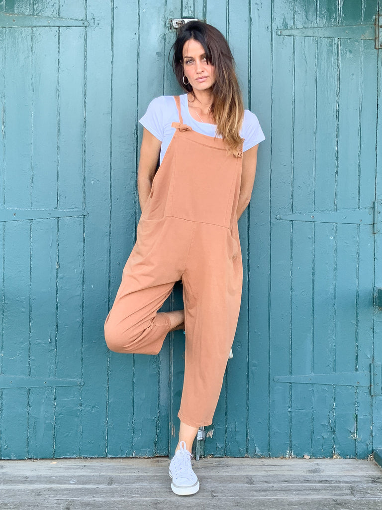 Country Lover Sloppy Jersey Cotton Dungarees