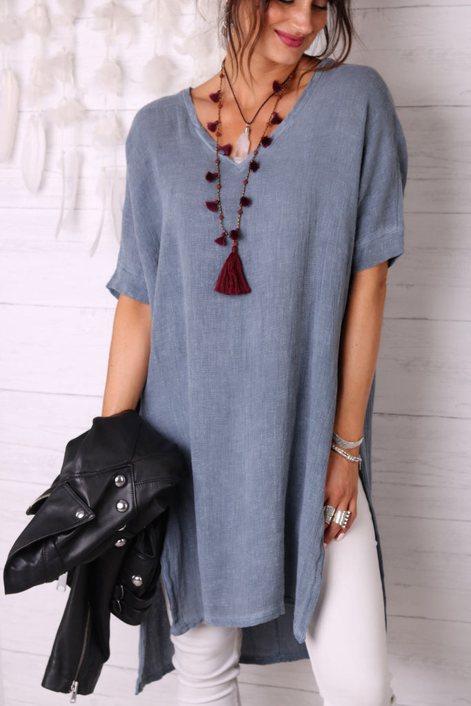 Summers In Cambodia Long Linen Top