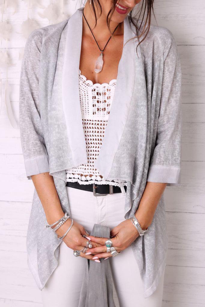 Whisper Softly Linen and Silk Kimono Top