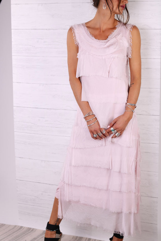 Pretty In Pink Pure Silk Raw Edge Maxi Dress