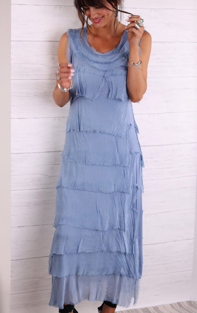 Coastal Breeze Pure Silk Raw Edge Maxi Dress