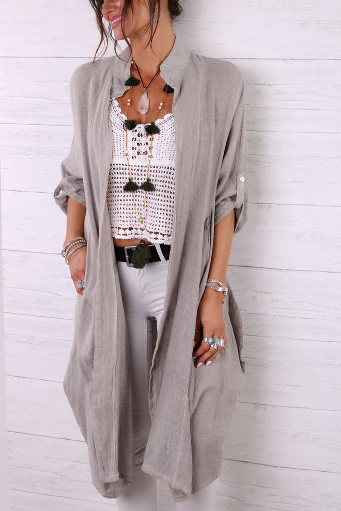 Lets Chill Long Linen Jacket