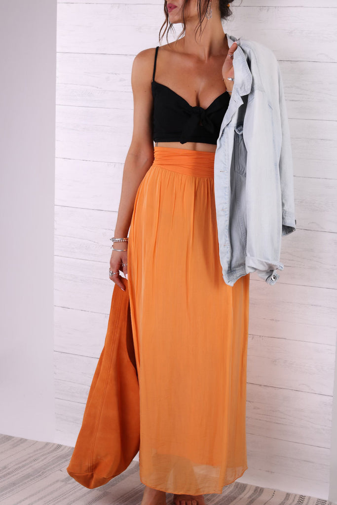 Peace And Love Pure Silk Maxi Skirt