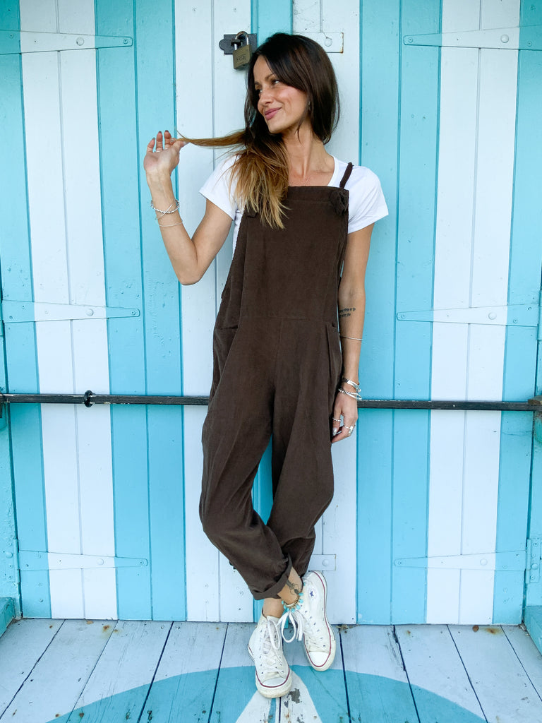 Retro Rocking Slouchy Tie Up Corduroy Dungarees