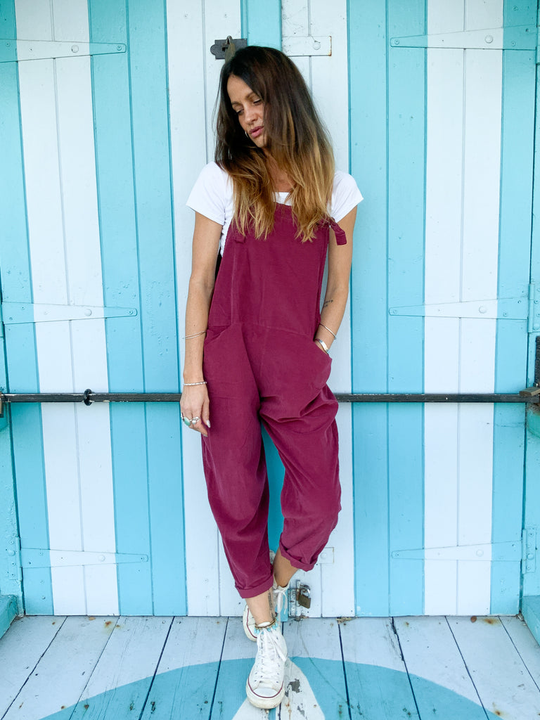 Sweet Disposition Slouchy Tie Up Corduroy Dungarees