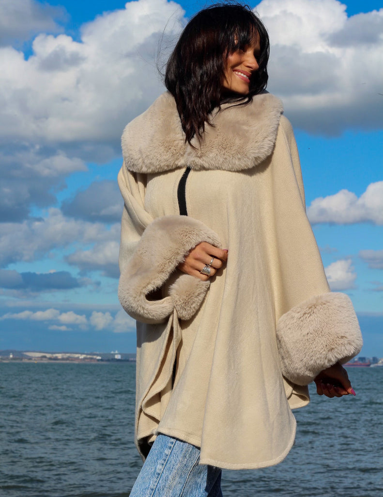 Latte Faux Fur Cuff Cape Jacket